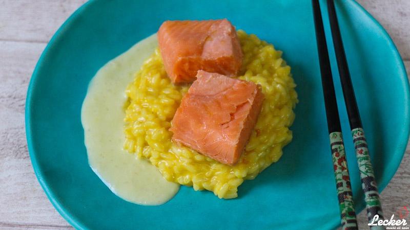Sous Vide Ōra King Lachs mit Orangen-Safran-Risotto und Wasabisauce