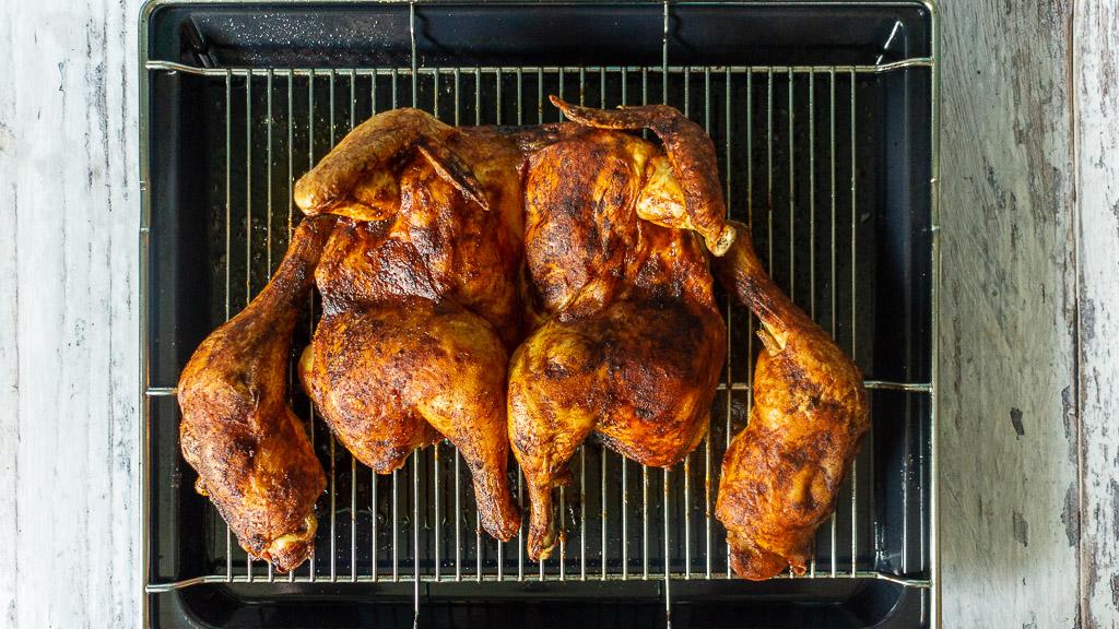Plattes Huhn aus dem Backofen - Roadkillchicken