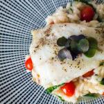Steinbuttfilet mit Tomaten Basilikum Risotto